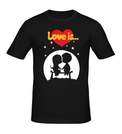 Мужская футболка Love is звездная ночь