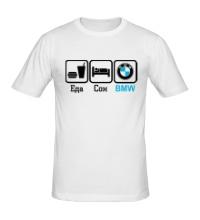 Мужская футболка Еда, сон и BMW