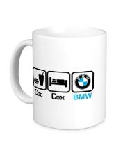 Керамическая кружка Еда, сон и BMW