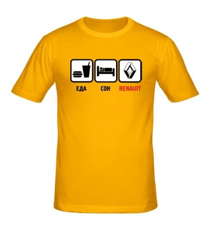 Мужская футболка Еда, сон и Renault