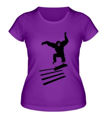 Женская футболка Обезьяна на скейте