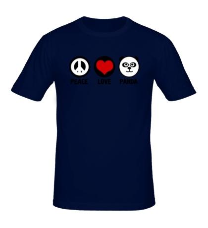 Мужская футболка Peace love panda