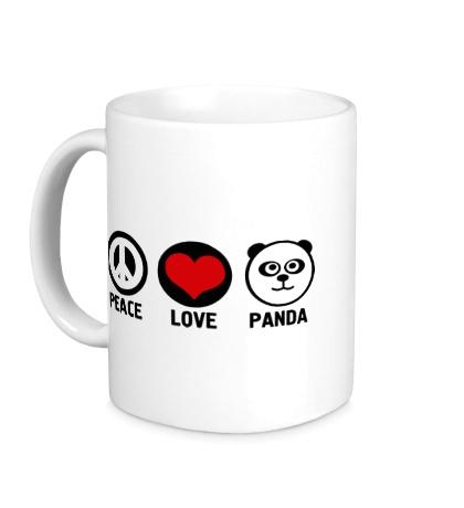 Керамическая кружка Peace love panda