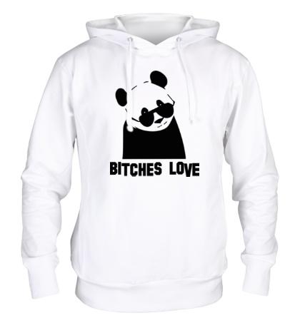 Толстовка с капюшоном Panda bitches love