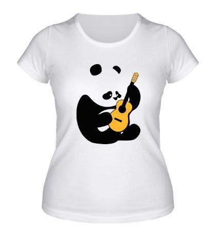 Женская футболка Панда гитарист