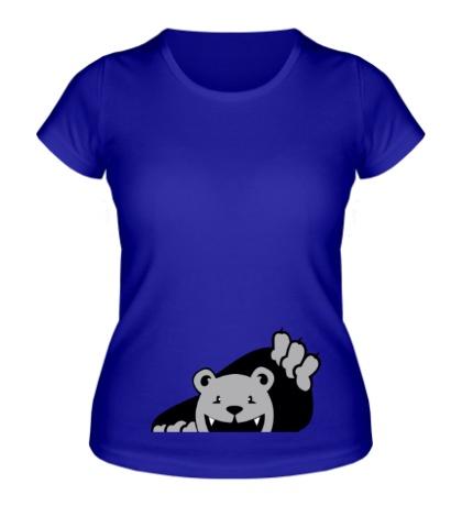 Женская футболка Медведь вылезает