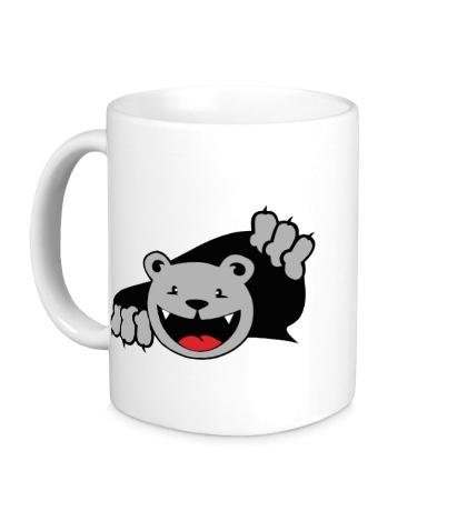 Керамическая кружка Медведь вылезает
