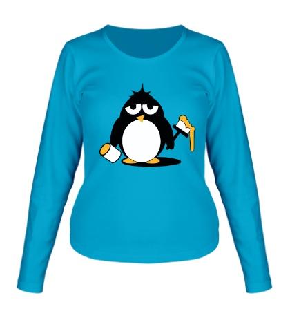 Женский лонгслив Пингвин с краской