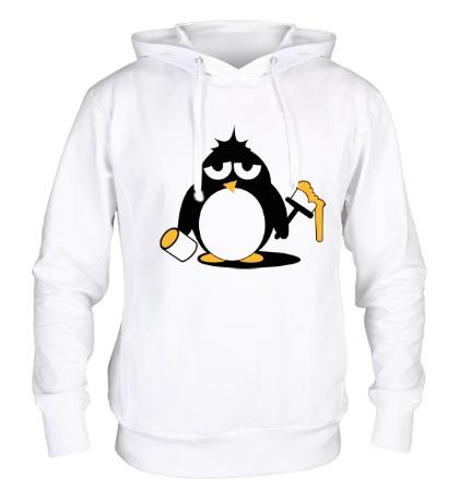 Толстовка с капюшоном Пингвин с краской