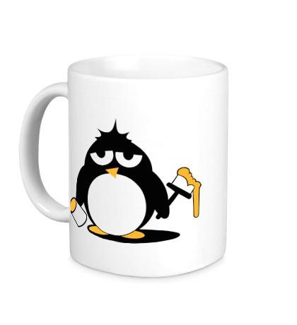 Керамическая кружка Пингвин с краской
