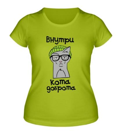 Женская футболка Внутри кота доброта