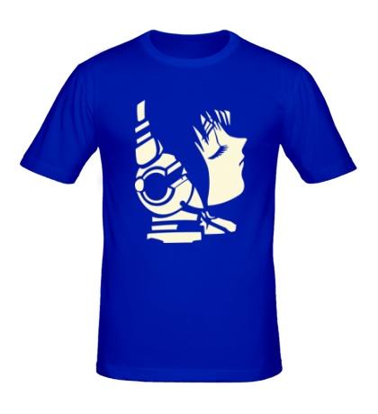 Мужская футболка Девушка в наушниках светится