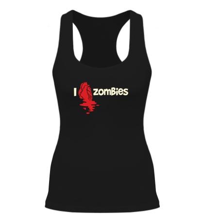 Женская борцовка I love zombies glow