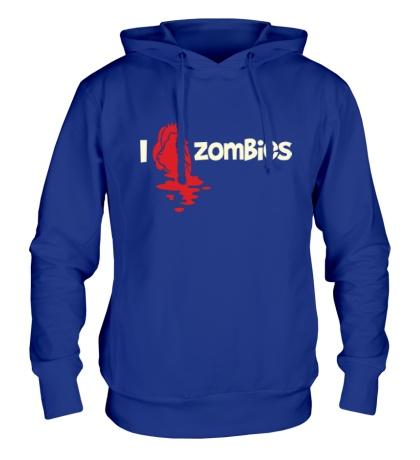 Толстовка с капюшоном I love zombies glow