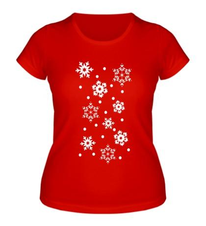 Женская футболка Веселые снежинки
