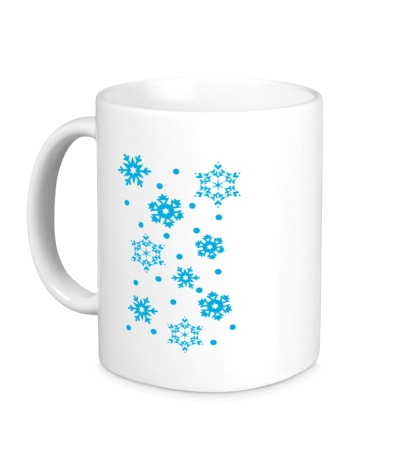 Керамическая кружка Веселые снежинки