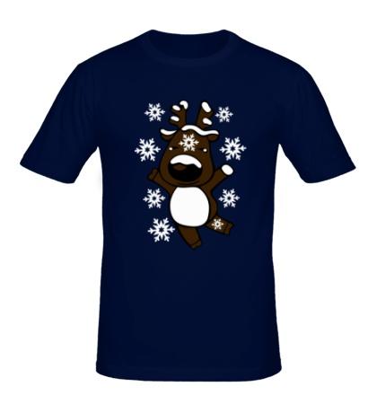 Мужская футболка «Новогодний олень»