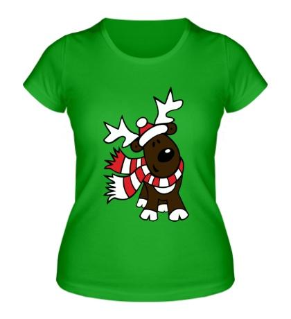 Женская футболка Олень в шарфе
