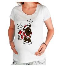 Футболка для беременной Олень в шарфе