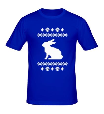 Мужская футболка Зимний узор с зайцем