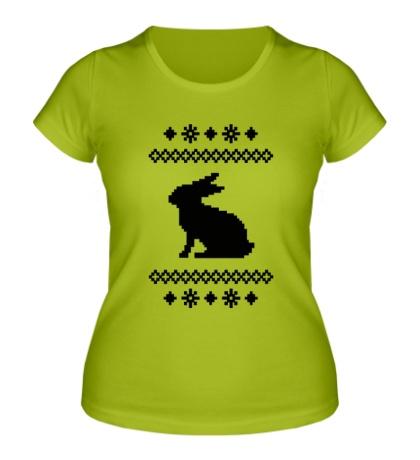 Женская футболка Зимний узор с зайцем