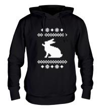 Толстовка с капюшоном Зимний узор с зайцем