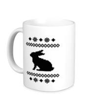 Керамическая кружка Зимний узор с зайцем