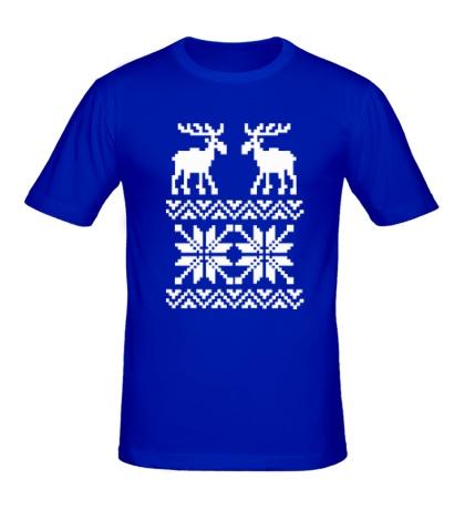 Мужская футболка Зимний узор с оленями