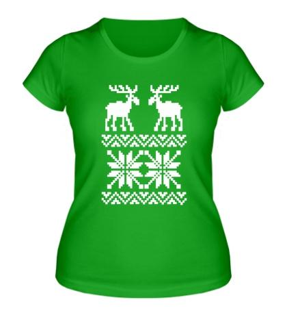 Женская футболка Зимний узор с оленями