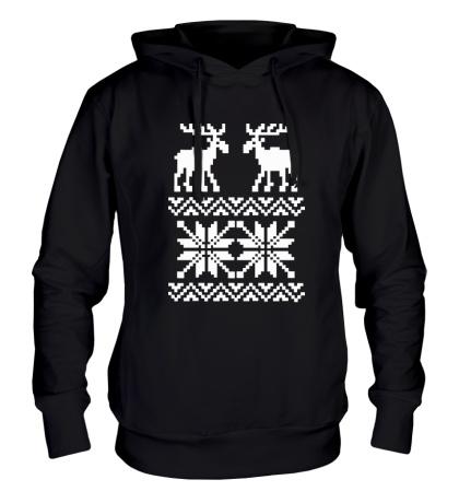 Толстовка с капюшоном Зимний узор с оленями