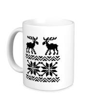Керамическая кружка Зимний узор с оленями