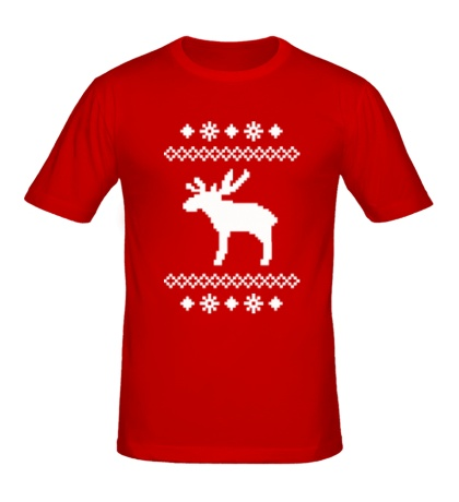 Мужская футболка Зимний узор с оленем