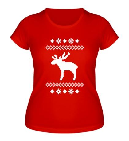 Женская футболка Зимний узор с оленем