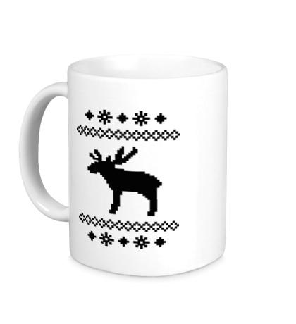 Керамическая кружка Зимний узор с оленем