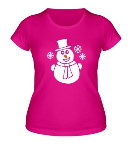 Женская футболка Веселый снеговик