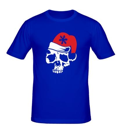 Мужская футболка Череп в новогодней шапочке