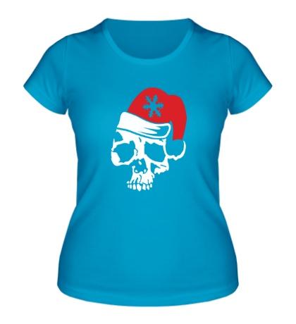 Женская футболка Череп в новогодней шапочке