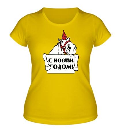 Женская футболка Новогодняя лошадь