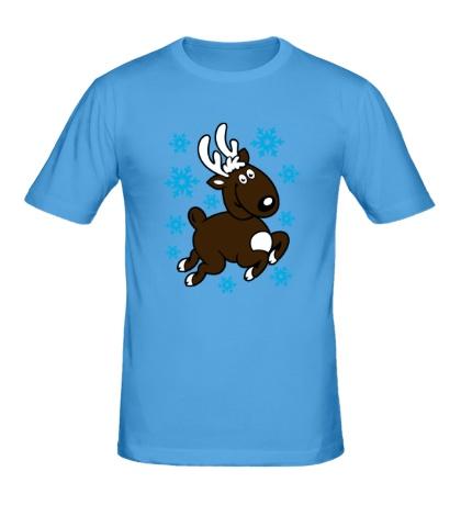 Мужская футболка Олень и снежинки