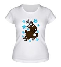 Женская футболка Олень и снежинки