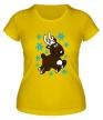 Женская футболка «Олень и снежинки» - Фото 1