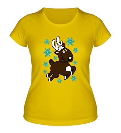 Женская футболка «Олень и снежинки»