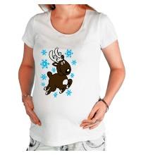 Футболка для беременной Олень и снежинки