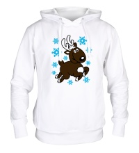 Толстовка с капюшоном Олень и снежинки