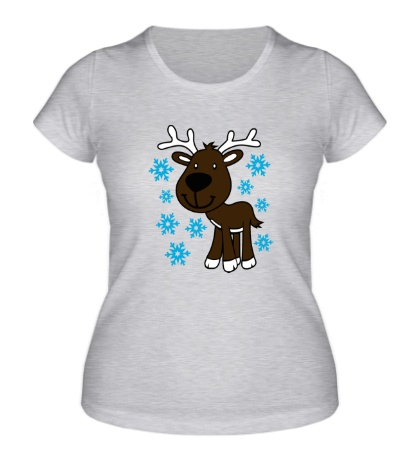 Женская футболка Олень в снегу