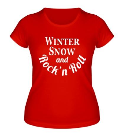 Женская футболка Winter snow & rock n roll