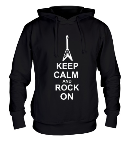 Толстовка с капюшоном Keep calm and rock on