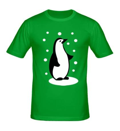 Мужская футболка Пингвин и снег