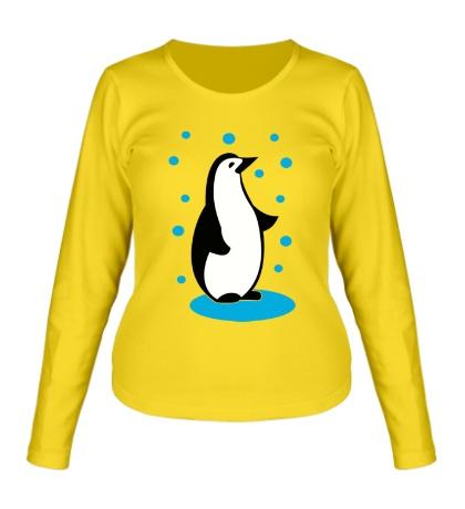 Женский лонгслив Пингвин и снег