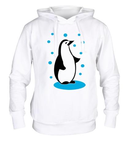 Толстовка с капюшоном Пингвин и снег